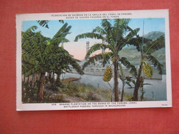 Battleship Passing Thru Panama Canal    Banana Plantation       Ref 4843 - Panama