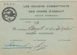 Carte De Membre Des Anciens Combattants Des Chars D'assaut. Région Normande. - Other