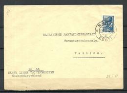 Estonia Estland O 29.I.1941 Narva First Soviet Occupation In Estonia Official Cover - Estonia