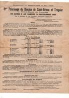 Programme 51e Pèlerinage Du Diocèse De Saint-Brieuc Et Tréguier à Notre-Dame De Lourdes En Septembre 1935 - Programs