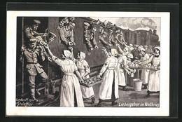 Künstler-AK Sign. H. Strieffler: Rotes Kreuz, Schwestern Bringen Soldaten Liebesgaben Im Weltkrieg - Red Cross