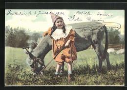 AK Kind Mit Einem Maultier Auf Der Wiese - Donkeys