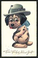 AK Ein Frohes Neues Jahr, Lustiger Hund Mit Hut, Bonzo - Dogs