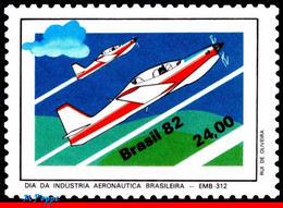 Ref. BR-1823 BRAZIL 1982 PLANES, AVIATION, AVIATION INDUSTRY DAY,, EMBRAER EMB-312, MI# 1930, MNH 1V Sc# 1823 - Nuevos