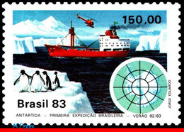 Ref. BR-1845 BRAZIL 1983 SHIPS, BOATS, ANTARCTIC, 1ST BRAZILIAN, EXPEDITION, PENGUIN, HELICOPTERS, MNH 1V Sc# 1845 - Unused Stamps