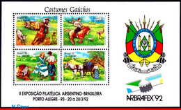 Ref. BR-2358B BRAZIL 1992 ANIMALS, FAUNA, PHILATELIC EXHIBITION,, HORSE, COW, DANCE, MI# B88, MNH 4V Sc# 2358B - Nuevos