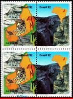 Ref. BR-2383A-Q BRAZIL 1992 ANIMALS, FAUNA, NTL PARK, LEOPARD,CANYON,,  CATS, MI# 2489-90, BLOCK MNH 4V Sc# 2382-2383 - Unused Stamps
