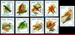 Ref. BR-2484-94 BRAZIL 1997 BIRDS, 1994, 1995, ANIMALS &, FAUNA, DEFINITIVE SET MNH 9V Sc# 2484-94 - Collections, Lots & Series