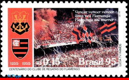 Ref. BR-2557 BRAZIL 1995 FOOTBALL SOCCER, FLAMENGO REGATTA CLUB,, FAMOUS CLUBS, SPORT, MI# 2669, MNH 1V Sc# 2557 - Unused Stamps