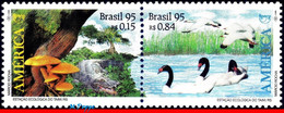 Ref. BR-2558-59 BRAZIL 1995 BIRDS, UPAEP,REPTILES,ALLIGATOR,, MUSHROOMS, MI# 2670-71,SET MNH 2V Sc# 2558-2559 - Swans