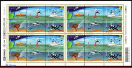 Ref. BR-2706-FO BRAZIL 1999 SHIPS, BOATS, LIGHTHOUSES, SEA, TURTLE,, BIRDS,DOLPHIN,MI# 2925-30, SHEET MNH 24V Sc# 2706 - Dolphins