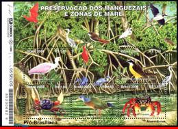 Ref. BR-2926 BRAZIL 2004 ANIMALS, FAUNA, PRESERVATION OF MANGROVE, SWAMPS, BIRDS, CRAB, MI# B127, S/S MNH 5V Sc# 2926 - Crustaceans