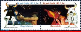 Ref. BR-2929 BRAZIL 2004 FOLKLORE, PARINTINS FESTIVAL,, PARROT, BIRDS, OX, MI# 3374-75, SET MNH 2V Sc# 2929 - Parrots