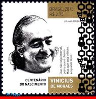 Ref. BR-3259 BRAZIL 2013 FAMOUS PEOPLE, VINICIUS DE MORAES, POET,, MUSICIAN, PLAYWRIGHT, MNH 1V Sc# 3259 - Escritores
