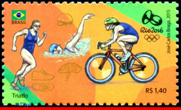 Ref. BR-3318AA BRAZIL 2015 SPORTS, OLYMPIC GAMES, RIO 2016,, TRIATHLON, BIKE, STAMP OF 4TH SHEET,MNH 1V Sc# 3318AA - Wielrennen