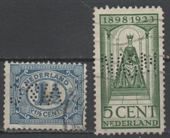 OLANDA - NEDERLAND - Paesi Bassi - Lot Of 2 Stamps - Perfin - Used - Otros
