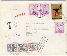 FRANCE / BELGIQUE - 1966 LSC Par EXPRÈS De Bruxelles à Meaux TAXÉE Pour Affranchissement Insuffisant /trouvée à La Boîte - Cartas Con Impuestos
