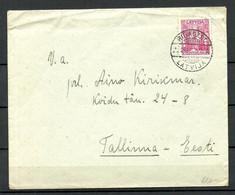 "LETTLAND Latvia 1937 Cover To Estonia With Official Label Of Estonian Post ""Nicht Zugestellt - War Nicht Zu Hause"" - Estonia"