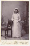 Oude Kabinet Foto Op Karton: Meisje Communie - Fotograaf Otto Gunckel - Malines Mechelen - Old (before 1900)