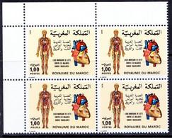 Morocco 1979 MNH Blk Lt Upper, Heart, Blood Circulation, Medicine, Human Anatomy - Medicine