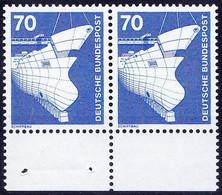 Germany 1975 MNH Pair, Ships, Shipbuilding - Tanker Under Construction - Ships