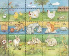 Israel 2010, Bird, Birds, Pets, Cat, Rabbit, Chick, M/S Of 9v, MNH** - Other