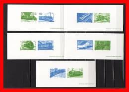 """"""" LES LEGENDES DU RAIL / TRAINS """" Sur 5 Gravures Officielles De 2001. N° YT 3405 à 3414. Parfait état - Trains"""