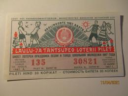 ESTONIA 1987 LOTTERY TICKET FOLK DANCES COSTUMES   , O - Lottery Tickets