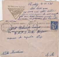 PAIX 65C SUR LAC 15e REGIMENT D INFANTERIE ALPINE RODEZ 11/1/1938 POUR CASERNE RIQUIER NICE + VIGNETTE SAUVE TUBERCULOSE - Militaire Stempels Vanaf 1900 (buiten De Oorlog)