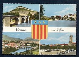 Souvenir De Millau (Aveyron) - Vue Sur Le Tarn Et La Ville, Vue Générale, Le Beffroi, Place Emma Calvé - Gruss Aus.../ Grüsse Aus...