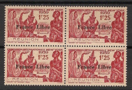 Réunion - 1943 - N°Yv. 216 - France Libre - Expo NY 1f25 - Bloc De 4 - Neuf GC ** / MNH / Postfrisch - Unused Stamps