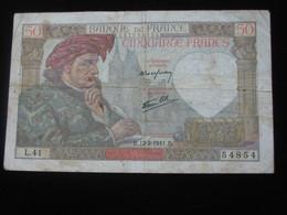 50 Cinquante Francs - Jacques Coeur - 13-2-1941   **** EN ACHAT IMMEDIAT ****     Année RARE - 50 F 1940-1942 ''Jacques Coeur''