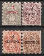 Maroc - 1907-10 - N°Yv. 20 à 23 - Type Blanc - 4 Valeurs - Neuf Luxe ** / MNH / Postfrisch - Neufs