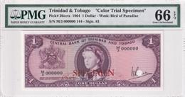Trinidad & Tobago, 1 Dolar Color Trial Specimen, 1964, P#26ccts, PMG 66 EPQ Gem UNC - Specimen