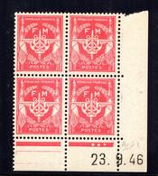 YT-N°: FM 12 - FRANCHISE MILITAIRE, Coin Daté Du 23.09.1946, Galvano A De A+B, 1er Tirage, NSC/**/MNH - 1940-1949