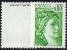 France N° 1970 C ** Sabine De Gandon 0f80 Vert - Variété Gomme Tropicale Sans Bande De Phosphore - Nuevos