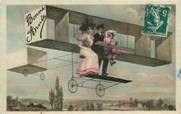 CARTE PHOTO  MONTAGE - Famille - Avion - Bonne Année - Fotografía