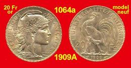 """20 Francs Or France 1064a De 1909A NEUVE """"PROMOTION"""" Marianne Coq, 900 ‰ 6,45 Gr Tirage 9 636 955 - Gold"""
