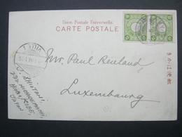 JAPAN ,  Ansichtskarte Aus MANOIMYA , Kobe  Nach Luxemburg  1907 - Cartas