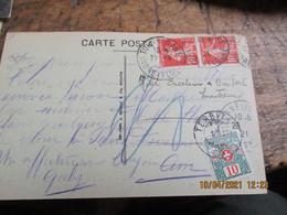 Lettre Taxee  Suisse 10 C Lettre 2 Timbre Semeuse 10 C  De Tours - Postage Due Covers