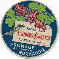 ETIQUETTE DE FROMAGE NEUVE   ENVOI DES FERMIERS NORMANDS CAEN CALVADOS NORMANDIE - Cheese