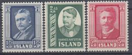 ++B1923. Iceland 1954. Hafstein. Michel 293-95. MNH(**) - Ungebraucht