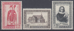 ++B1925. Iceland 1956. Skálholt. Michel 300-302. MNH(**) - Ungebraucht