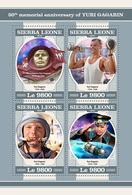 SIERRA LEONE 2018 - Yuri Gagarin - YT 7777-80, CV=19 € - Zonder Classificatie