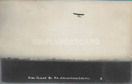 OLD REAL PHOTO POSTCARD AVIATION AVIAZIONE - BOURNEMOUTH 1910 - HIGH FLIGHT BY MR. ARMSTRONG DREXEL - U14 - Aviadores