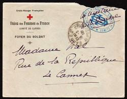 FRANCE Croix Rouge (Guerre 1914/18) Union Des Femmes De France (Cannes) Belle Lettre Illustrée.... - Croix Rouge