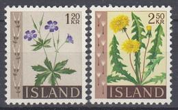 ++M1469. Iceland 1960-62. Flowers. Michel 345-46. MNH(**) - Ungebraucht