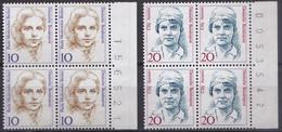 BRD, 1988,  Nr. 1359, 1365 ** Frauen Der Deutschen Geschichte, 2 Viererblöcke Mit Bogenzähler - Neufs