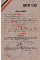 """Orginal Lidkaart """" Geheim Leger """" Lokeren De MOL Marcel Groep Lokeren Sint Niklaas 1940 1945  Carte Armée Secrète 1944 - 1939-45"""