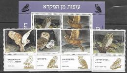Owls Set And Sheet Israel Sheet Mnh ** - Uilen